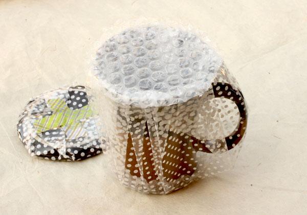 La tasse filmée et bulles