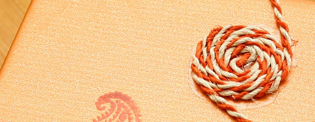 Rosace en cordelette orange